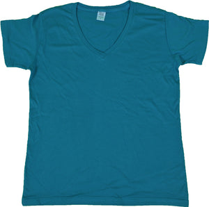 WOMENS V-NECK SHORT SLEEVE T-SHIRT FINE JERSEY (STYLE #889W)