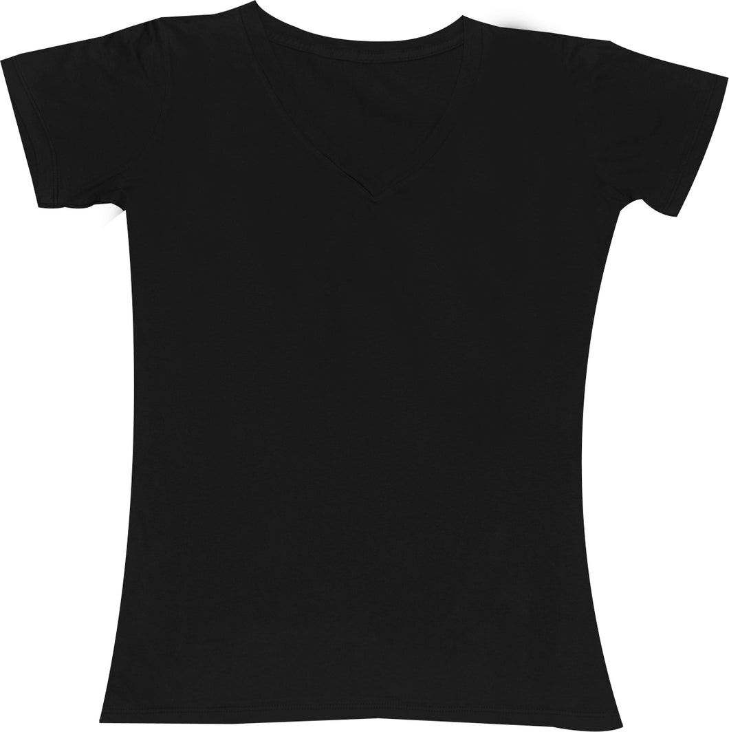 LADIES V-NECK SHORT SLEEVE T-SHIRT FINE JERSEY (STYLE #889)