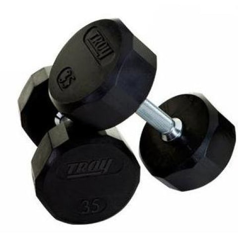 Troy Rubber Encased 12 Sided Dumbbell Sets - Rubber Coated Dumbbells