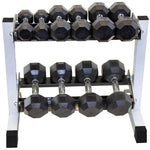 USA Rubber Encased Dumbbell Set with Rack 5-25 lbs. - Rubber Coated Dumbbells