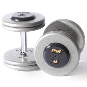 Troy Gray Pro Style Dumbbells, Rubber End - Straight Handle