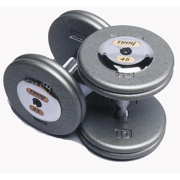 Troy Gray Pro Style Dumbbells Chrome End - Contoured Handle - Pro Style Dumbbells