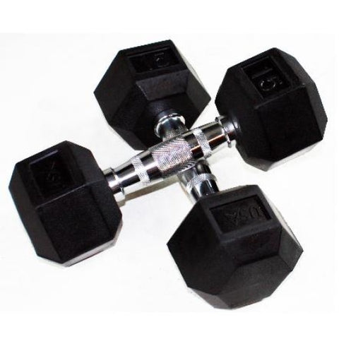 USA Sports Rubber Encased Hex Dumbbells - Rubber Coated Dumbbells