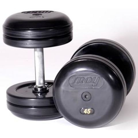 Troy Rubber Encased Pro Style Dumbbells - Straight Handle - Pro Style Dumbbells