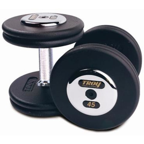 Pro Style Dumbbell Pairs Black Chrome End-Straight Handle - Pro Style Dumbbells