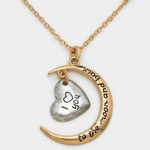 "I Love You ""Heart Moon"" Pendant Necklace"