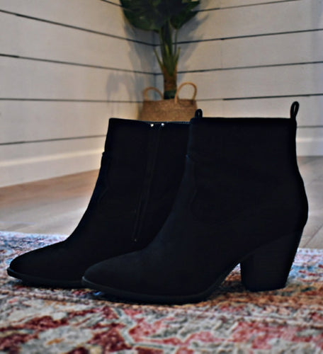 Kendall Suede Booties in Black