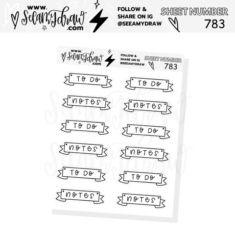 783 - To Do and Notes Banner Sticker Sheet