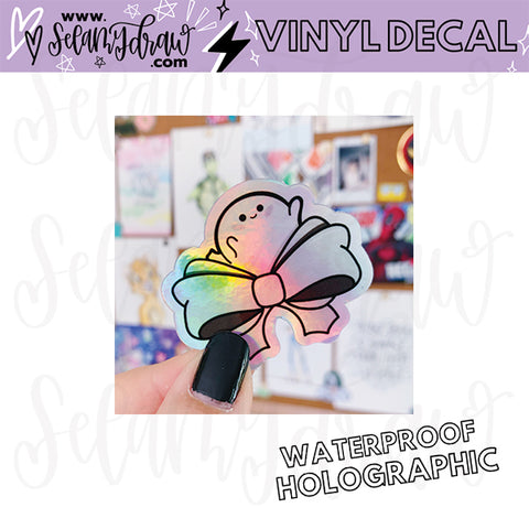 Ghostie Bow Holographic Vinyl Decal