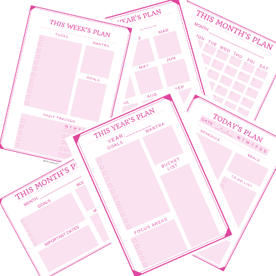 Pink Minimalist Printable Planner Page - 2 Sizes!
