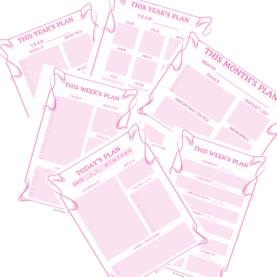 Pink Scroll Printable Planner Pages