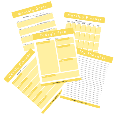 Modern Yellow Printable Planner Pages