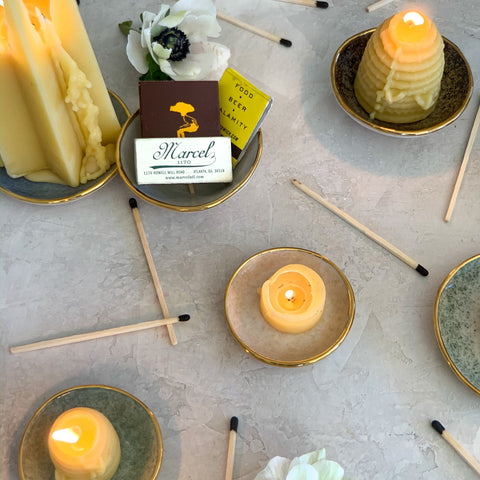 Beeswax Candles on some Dew Collection Trinket Dishes
