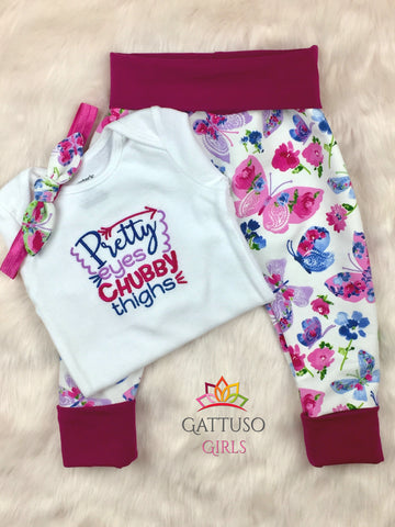 Embroidered Onesie Set ~ Pretty Eyes, Chubby Thighs