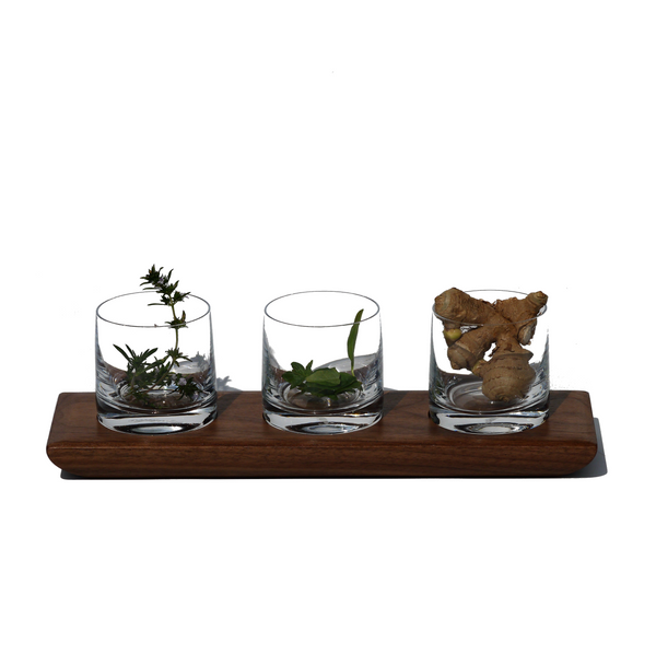 Condiment Tray | Glass + Wood