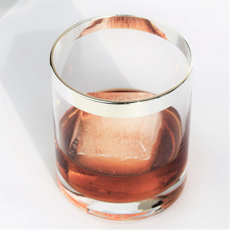 Crystal Whiskey Glass with Purs Silver Rim | Set of 4