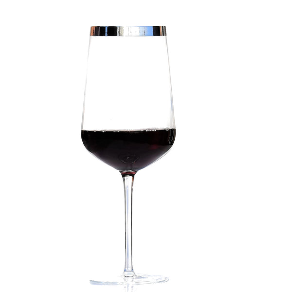 Red Wine Glass with Pure Silver Rim, Set of 2 | Rotwein Kristallglas 2er Set
