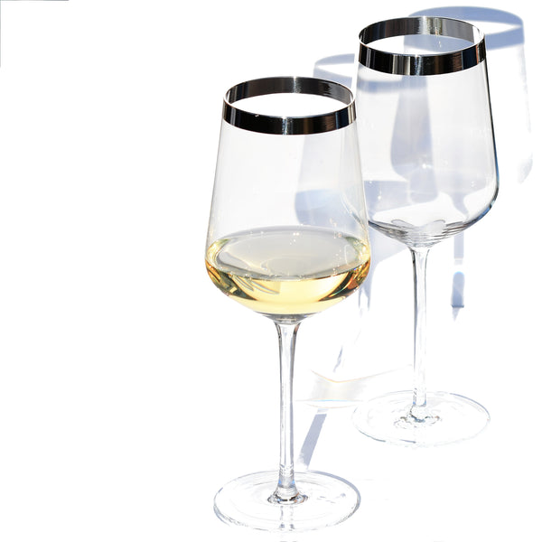 Crystal Glass White Wine with Pure Silver Rim | Set of 2