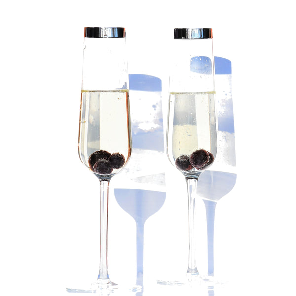Crystal Glass Champagne Flute with Pure Silver Rim | Set of 2