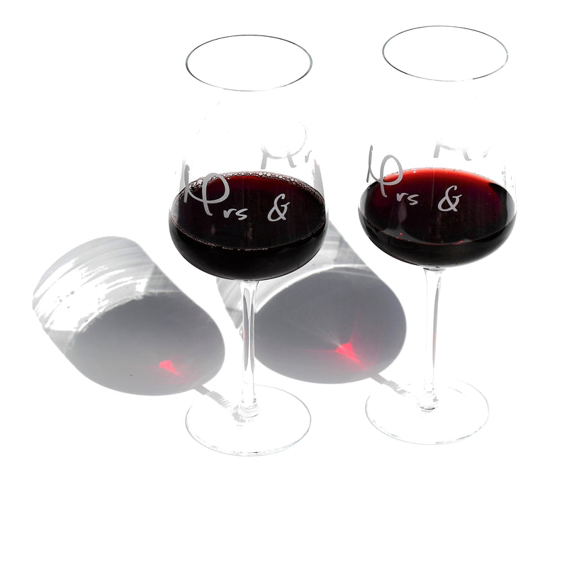 Crystal Glass | Red Wine Set of 2 | Wedding Engraving with Mrs & Mr