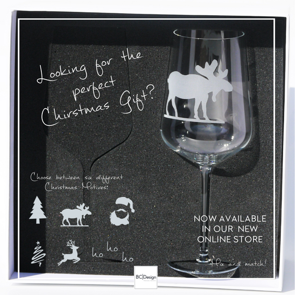 Crystal Glass | Red Wine Set of 2 - Christmas Mix & Match: Elk