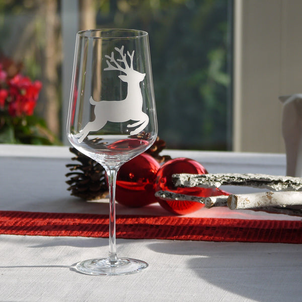 Crystal Glass | Red Wine Set of 2 - Christmas Mix & Match: Deer