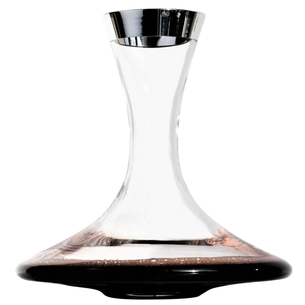 Crystal Glass Decanter with Pure Silver Rim