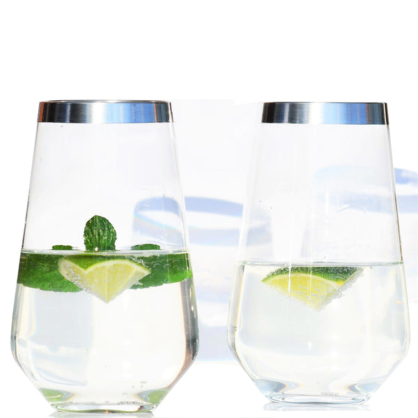 Crystal Glass Long Drink- High Ball Tumbler with Pure Silver Rim | Set of 2