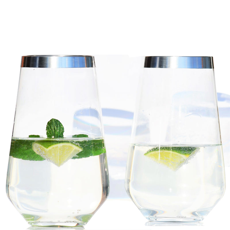 Long Drink Glass with Pure Silver Rim, Set of 2  |  Long Drink Glas mit Feinsilberrand 2er Set