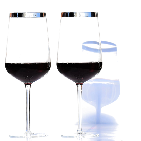 Crystal Red Wine Glass with Pure Silver Rim | Set of 2