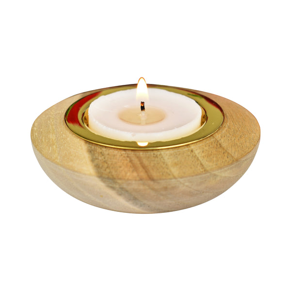 Tealight Holder, goldtone | Teelichthalter, goldfarben
