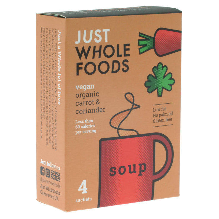 Organic Carrot & Coriander Soup - Just Wholefoods - vegan-perfection-retail