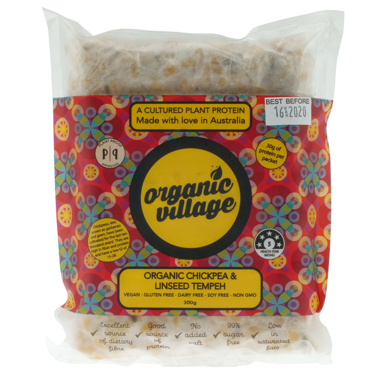 Organic Chickpea & Linseed Tempeh - Organic Village - vegan-perfection-retail
