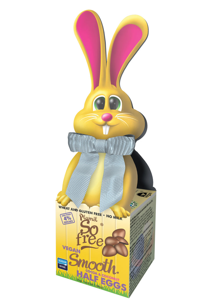 """Smooth"" 4% Sugars NAS Choc Mini-eggs in Bunny Bow-Tie Box,So Free,vegan-perfection-retail"