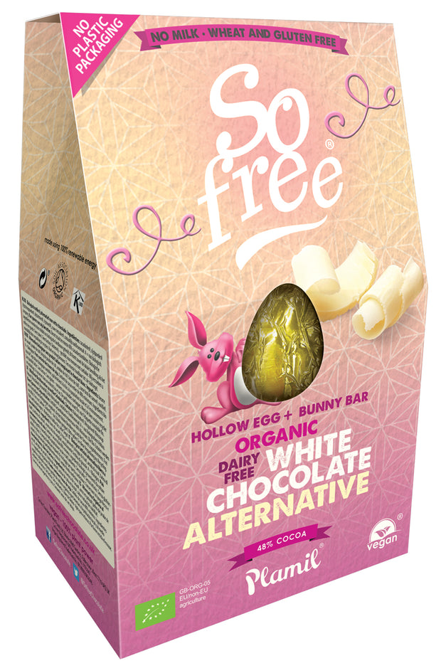 Large White Choc Easter Egg with Bunny Bar,So Free,vegan-perfection-retail