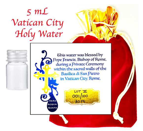 Holy Water Vial ✞ 5mL of Authentic Pope Francis Blessed Catholic Water from Vatican City ✞ Choose Your Size ✞ Must Have for Baptisms, Weddings, Exorcisms, Christenings, Evil Spirits, Haunted Houses, Prayer Groups.