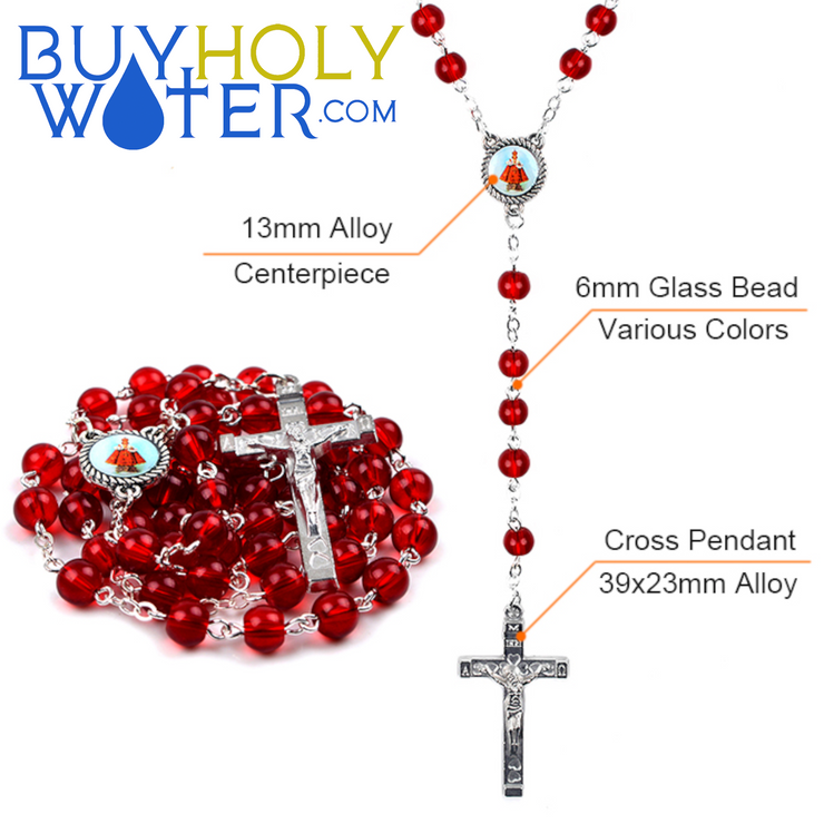 Blessed Silver & Glass Bead Rosary
