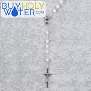 Blessed Silver & White Glass Rosary