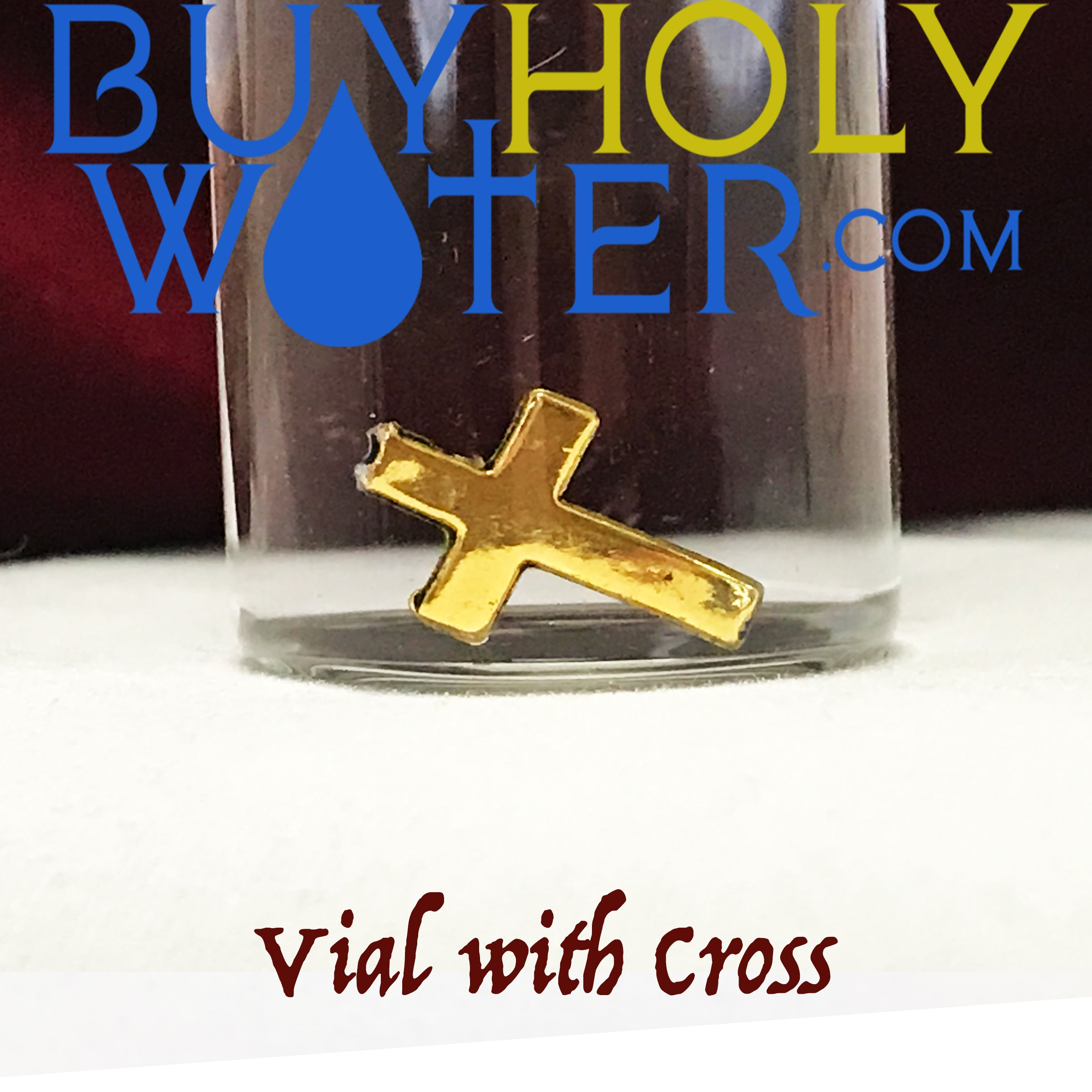 Holy Water 10mL Vial with Blessed Cross