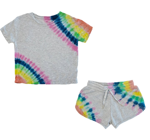 Playera y shorts grises con tie dye -Flowers by zoe