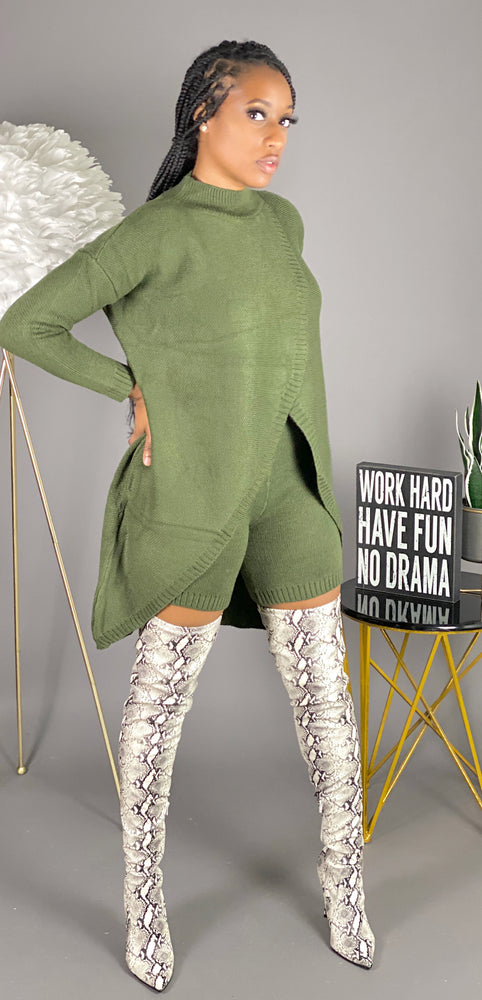 No Chill Sweater Set (Olive)