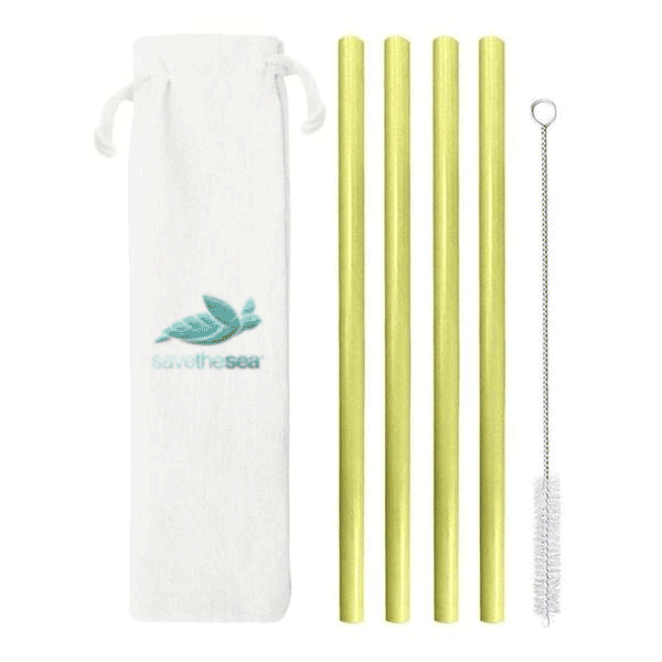 Save the Sea® - 4/6 Bamboo Straws Set + Cleaning Brush + Cloth Pouch