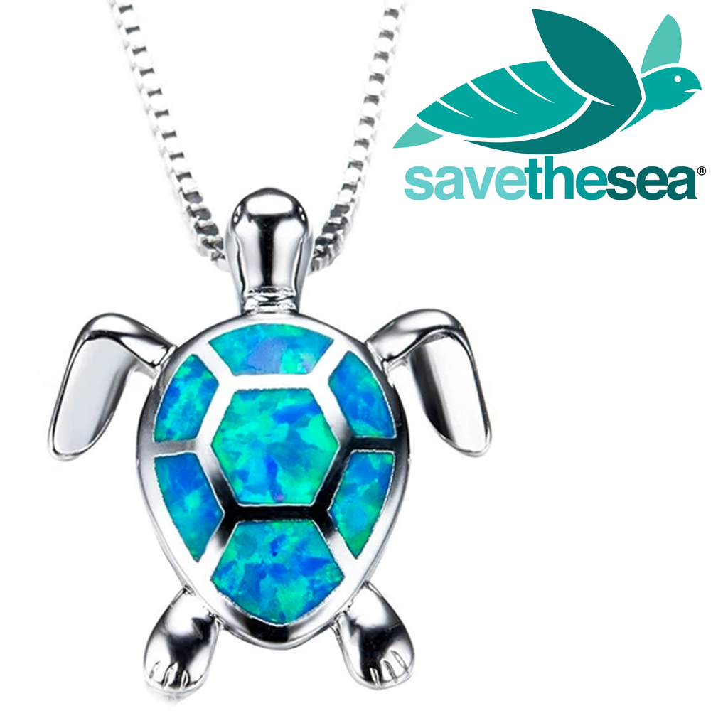 Save the Sea® Sterling Silver Blue Opal Sea Turtle Pendants Necklaces