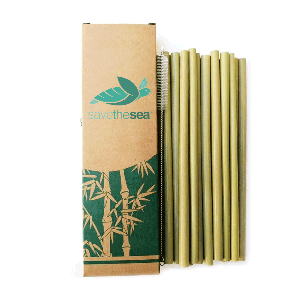 Save the Sea® - 10 Piece Bamboo Straw Refill  + Cleaning Brush