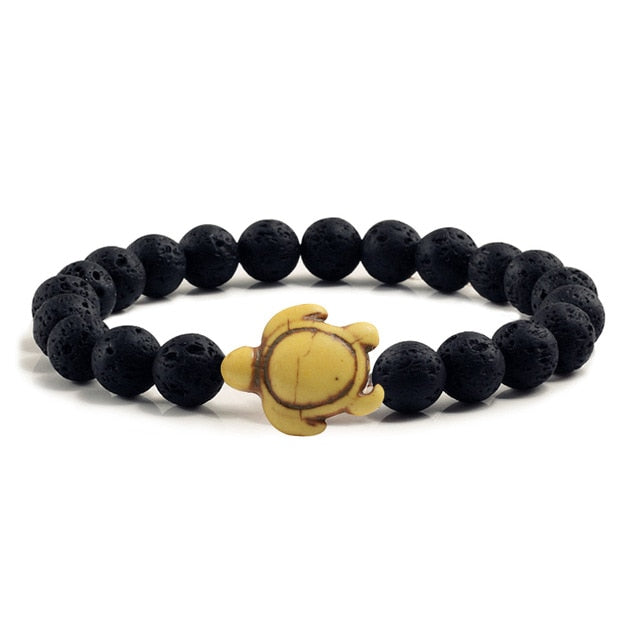Save the Sea Black Natural Stone Bead and  Sea Turtle Beads Bracelets Bracelet