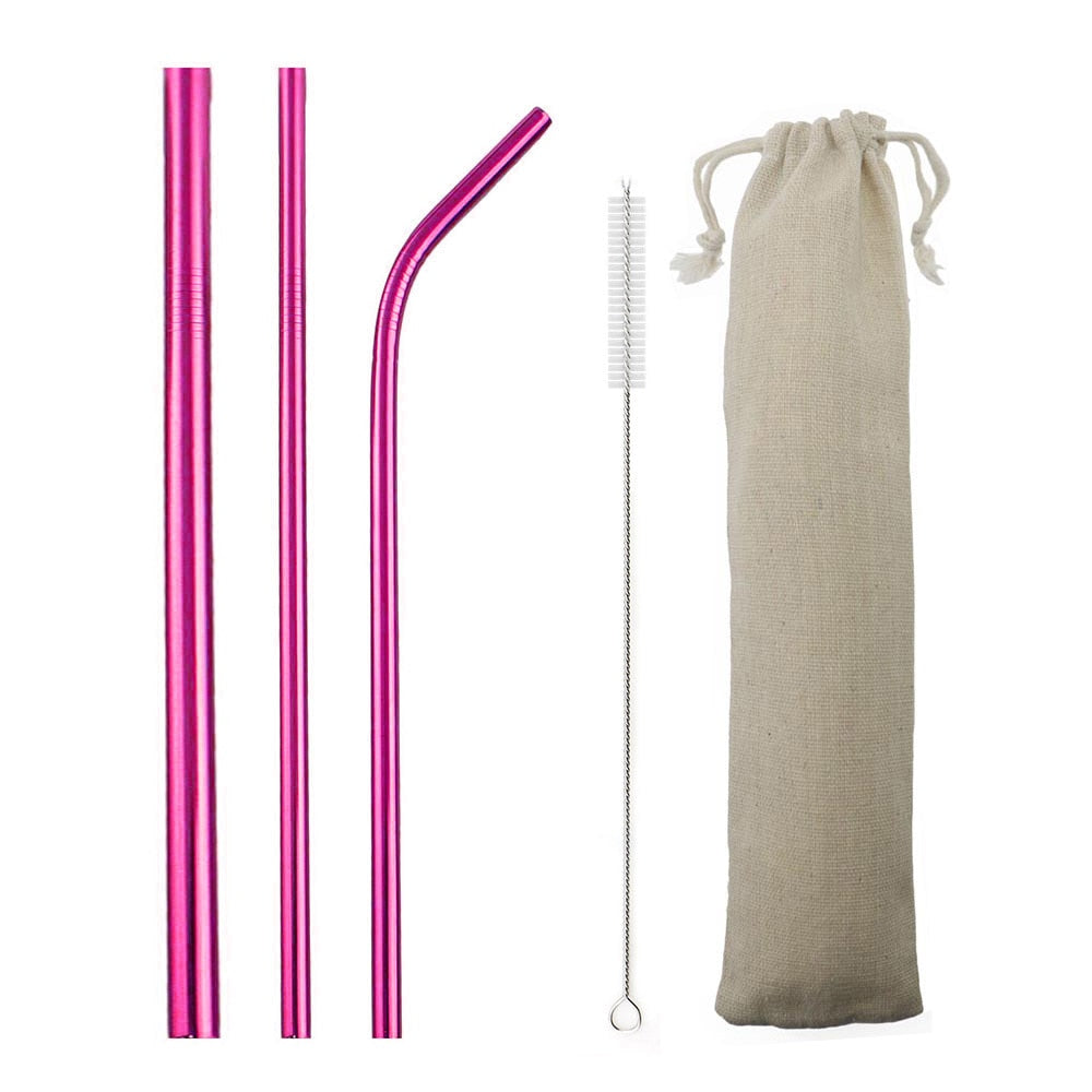 3 Piece Set Save the Sea® Pink Stainless Steel Straw + Cleaning Brush + All-Natural Canvas Pouch