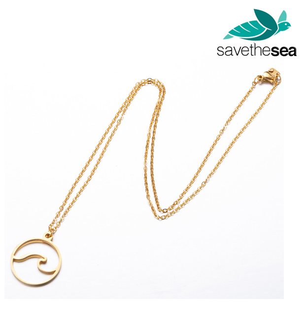 Save the Sea® Wave Pendant Necklaces in Gold, Rose-Gold or Silver
