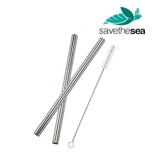 "Save the Sea® Turtle 8.5"" Eco-Friendly Stainless Steel Reusable + Cleaning Brush"
