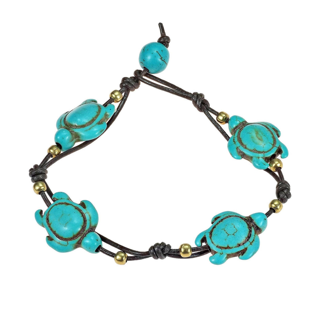 Original Save the Sea Turtle Bracelet | Turquoise Stone, Brass Bead with Leather Bracelet