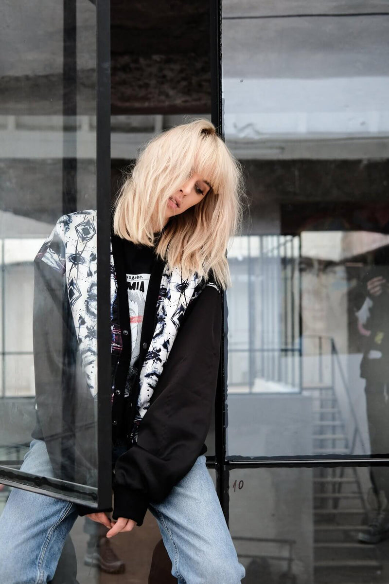 PRINTED V-NECK BOMBER JACKET